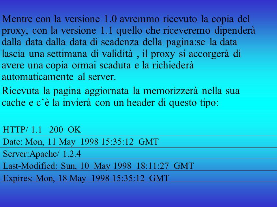 Mentre con la versione 1.0 avremmo ricevuto la copia del proxy, con la versione 1.1 quello che riceveremo dipenderà dalla data dalla data di scadenza della pagina:se la data lascia una settimana di validità , il proxy si accorgerà di avere una copia ormai scaduta e la richiederà automaticamente al server.