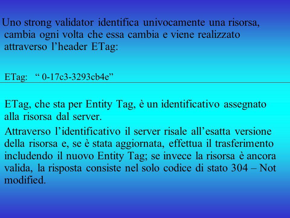 Uno strong validator identifica univocamente una risorsa, cambia ogni volta che essa cambia e viene realizzato attraverso l'header ETag:
