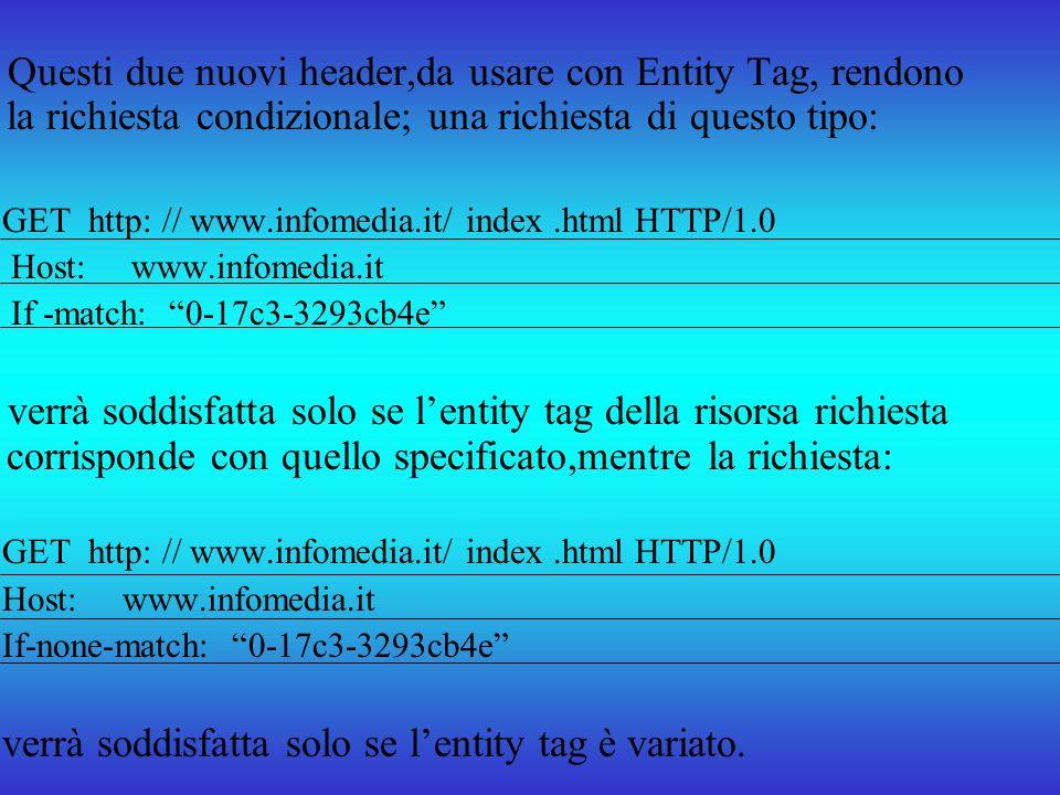 Questi due nuovi header,da usare con Entity Tag, rendono la richiesta condizionale; una richiesta di questo tipo: