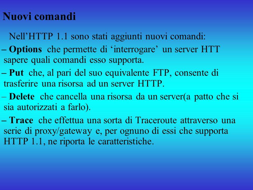 Nuovi comandi Nell'HTTP 1.1 sono stati aggiunti nuovi comandi: