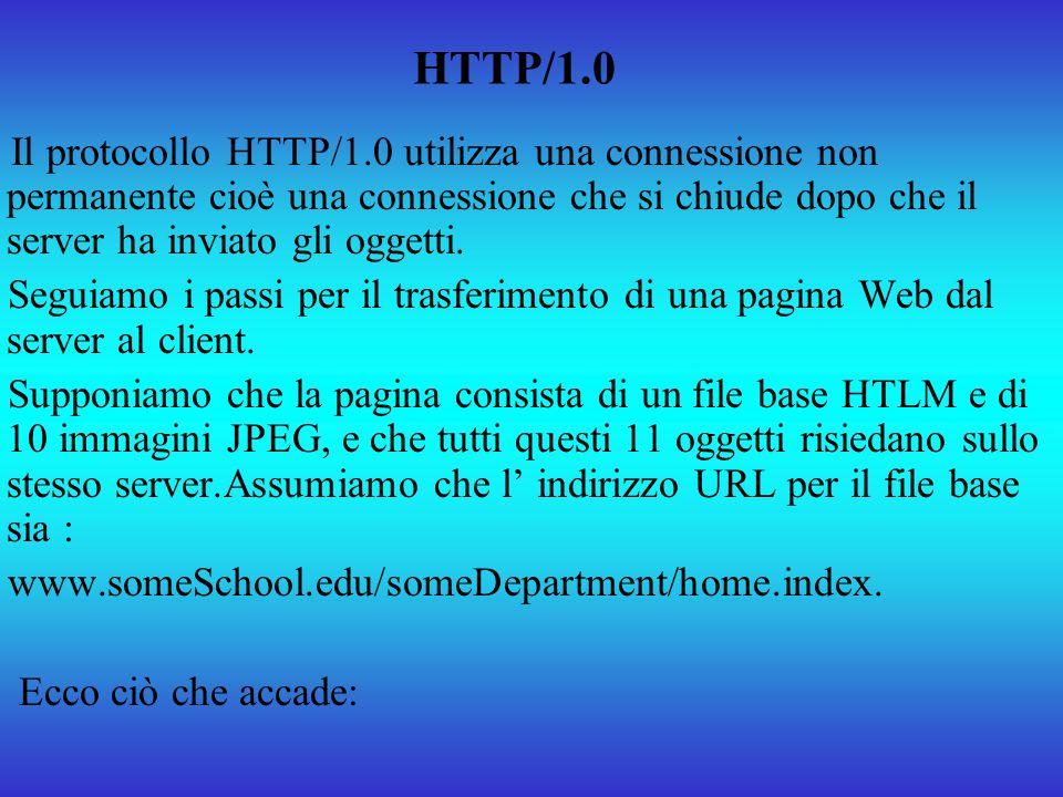 HTTP/1.0 Il protocollo HTTP/1.0 utilizza una connessione non permanente cioè una connessione che si chiude dopo che il server ha inviato gli oggetti.