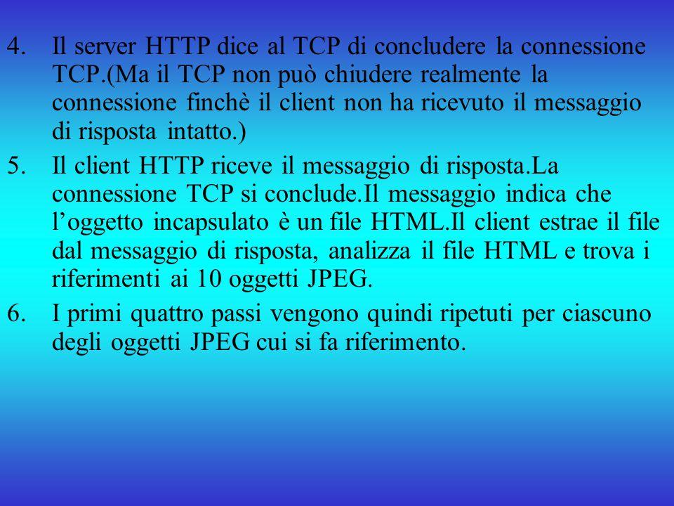Il server HTTP dice al TCP di concludere la connessione TCP