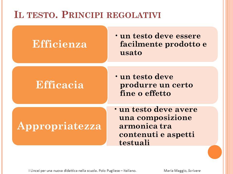 Il testo. Principi regolativi