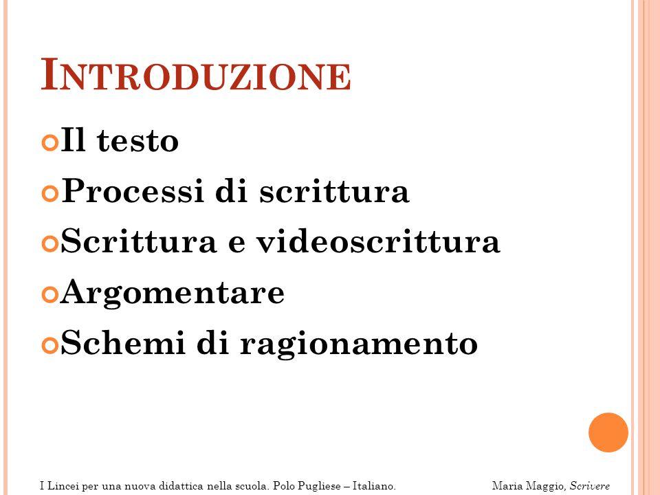 Introduzione Il testo Processi di scrittura Scrittura e videoscrittura