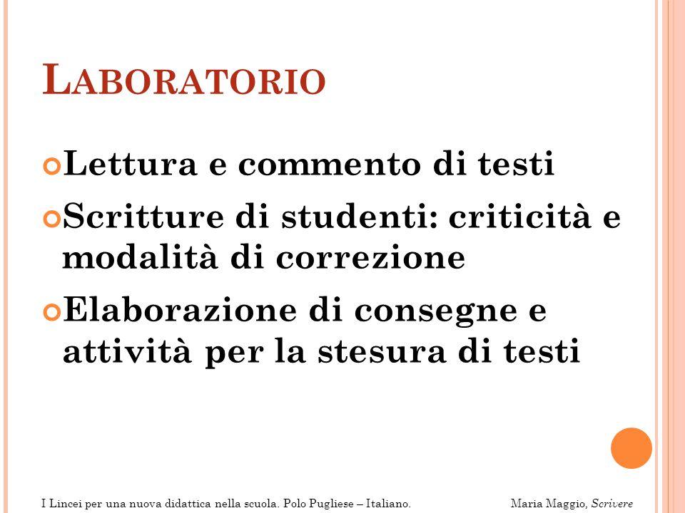 Laboratorio Lettura e commento di testi