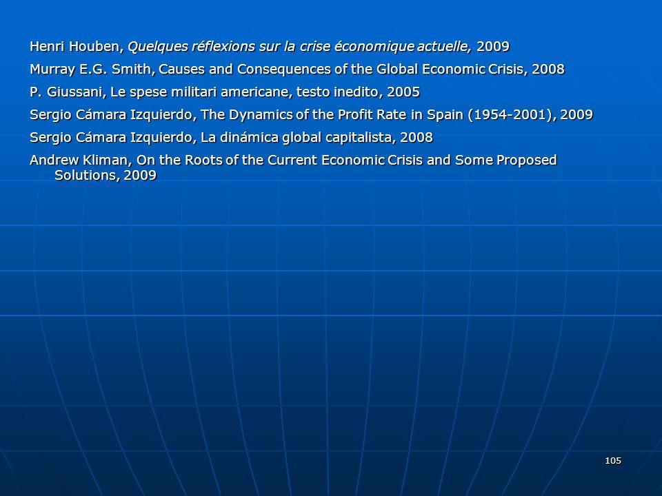 Henri Houben, Quelques réflexions sur la crise économique actuelle, 2009