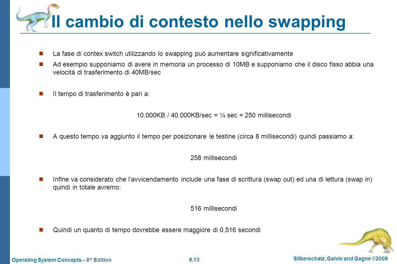 Il cambio di contesto nello swapping