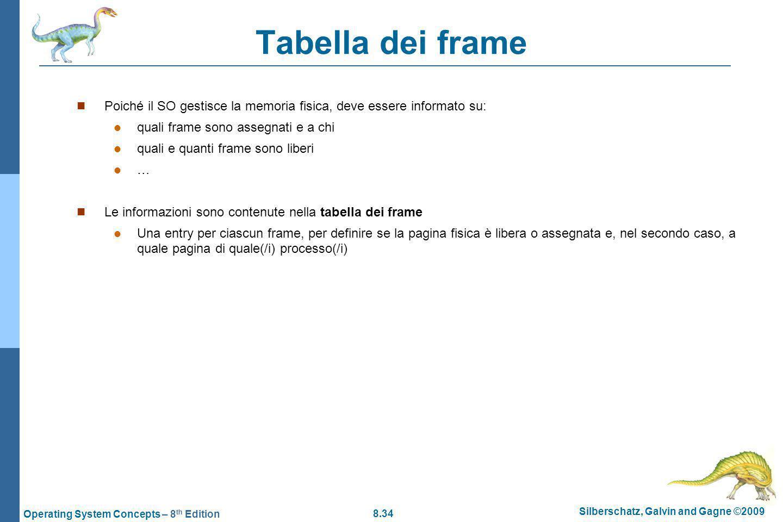 Tabella dei frame Poiché il SO gestisce la memoria fisica, deve essere informato su: quali frame sono assegnati e a chi.