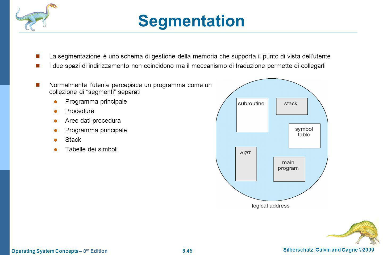 Segmentation La segmentazione è uno schema di gestione della memoria che supporta il punto di vista dell'utente.