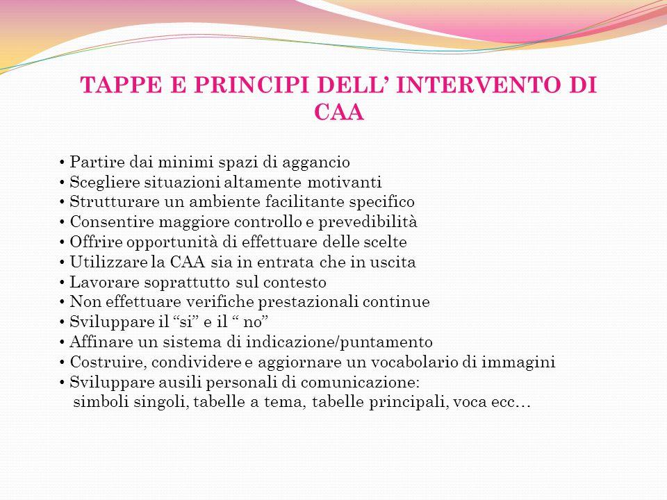 TAPPE E PRINCIPI DELL' INTERVENTO DI CAA