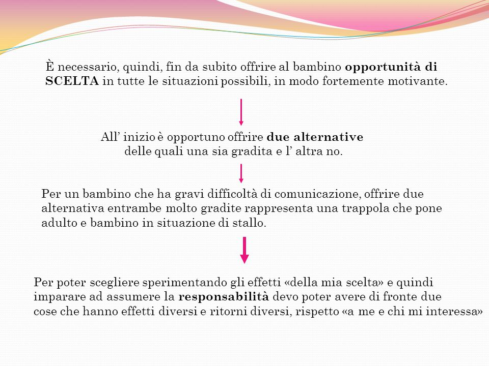 All' inizio è opportuno offrire due alternative