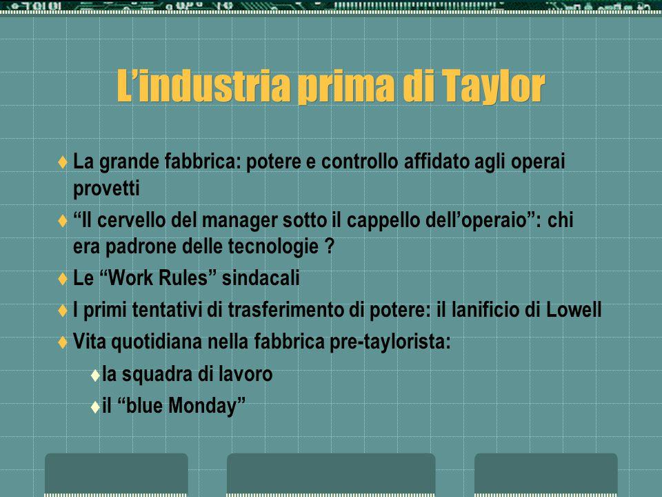 L'industria prima di Taylor