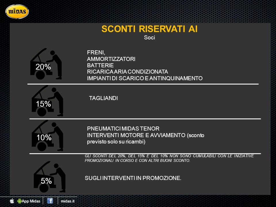 SCONTI RISERVATI AI 20% 15% 10% 5% Soci FRENI, AMMORTIZZATORI BATTERIE