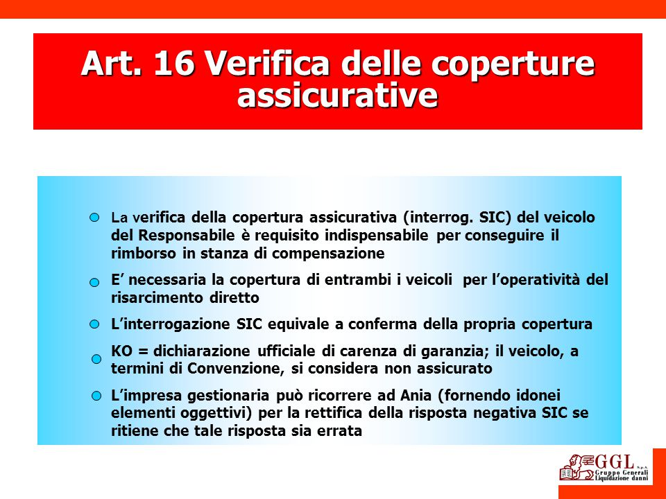 Art. 16 Verifica delle coperture assicurative