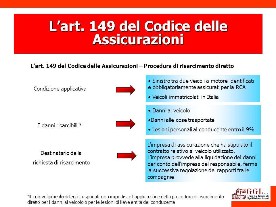 L'art. 149 del Codice delle Assicurazioni