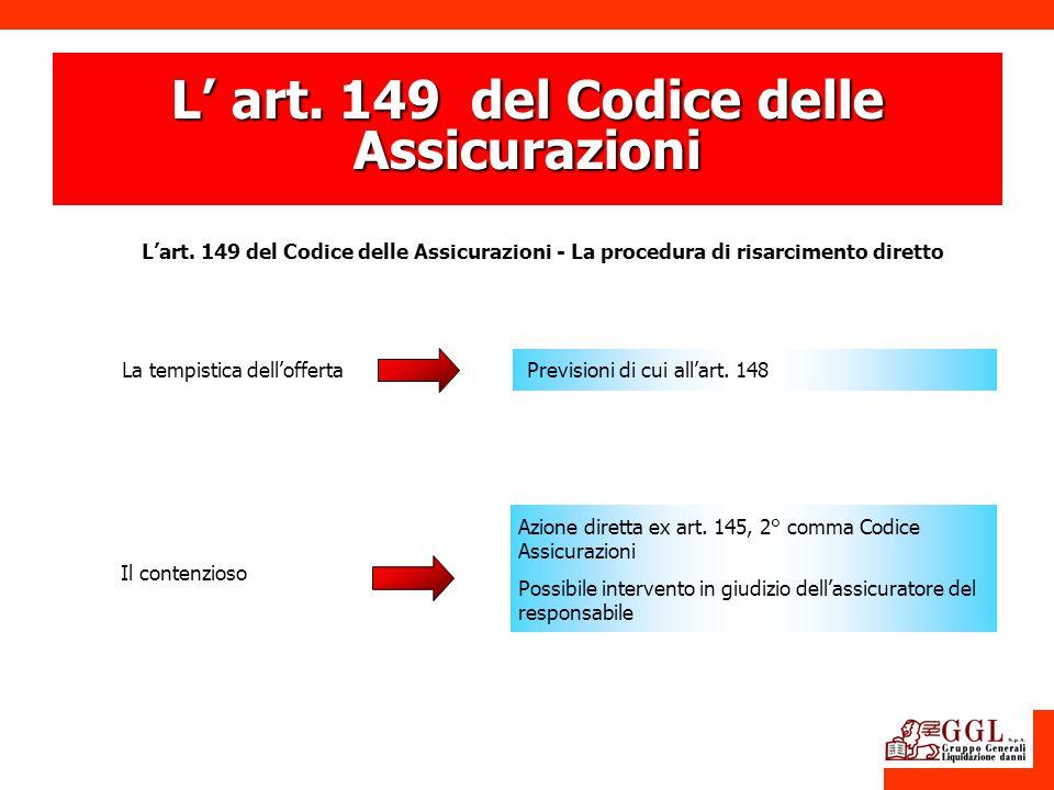 L' art. 149 del Codice delle Assicurazioni