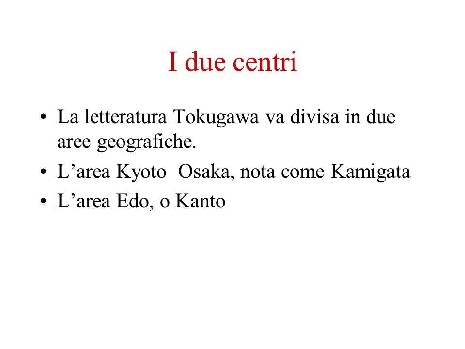 I due centri La letteratura Tokugawa va divisa in due aree geografiche. L'area Kyoto Osaka, nota come Kamigata.