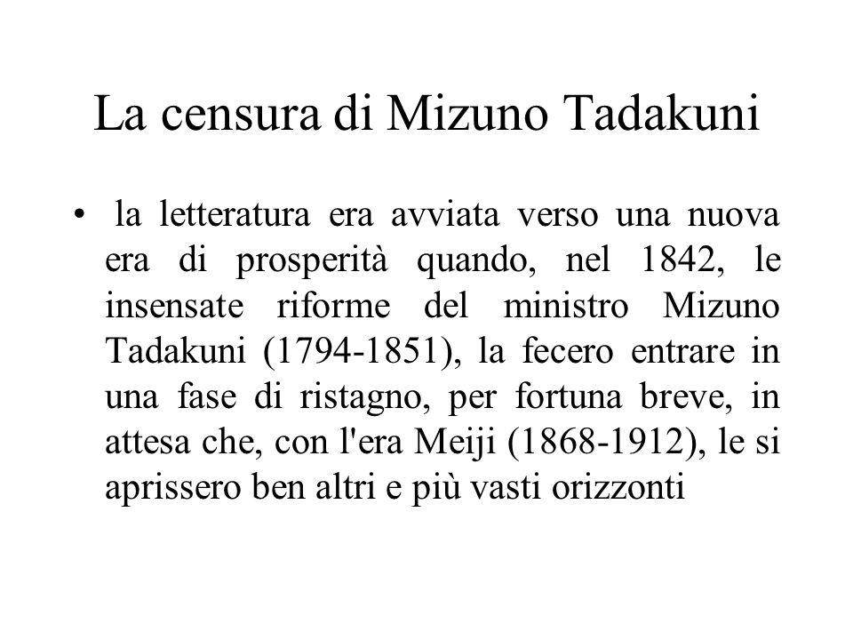 La censura di Mizuno Tadakuni
