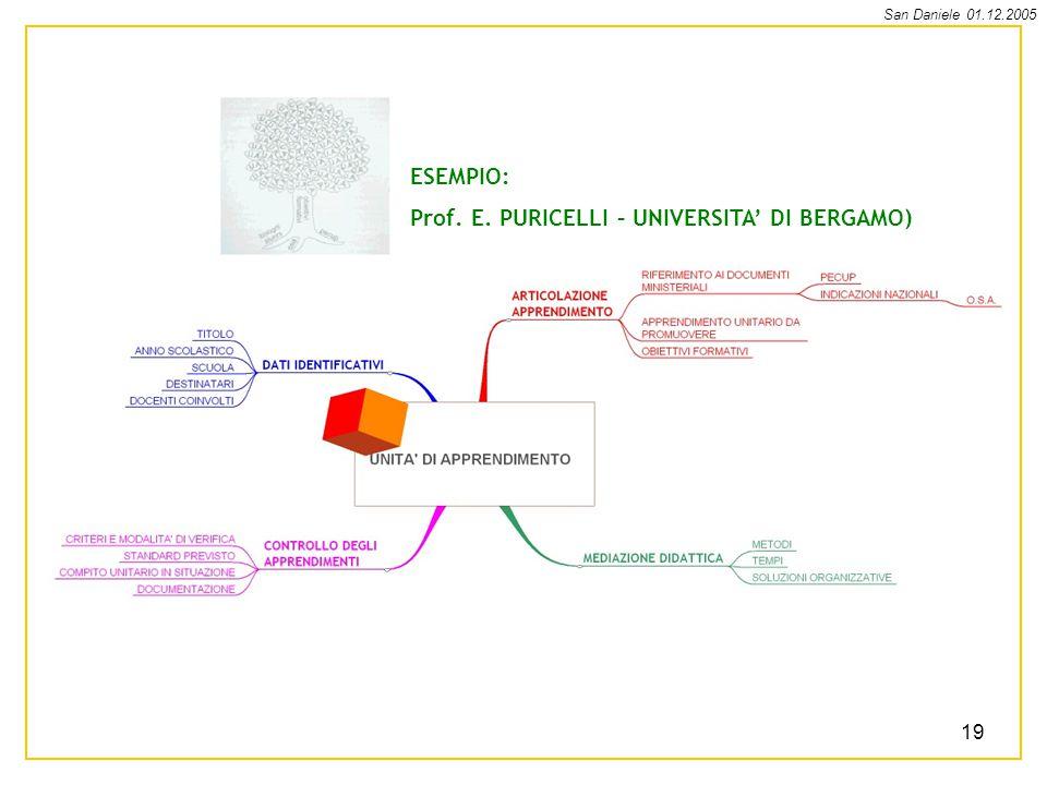 ESEMPIO: Prof. E. PURICELLI – UNIVERSITA' DI BERGAMO)