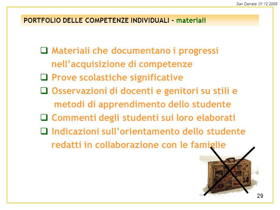 Materiali che documentano i progressi nell'acquisizione di competenze
