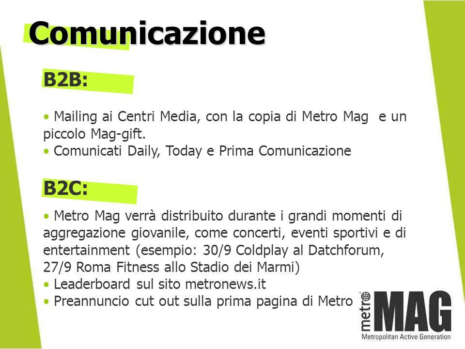 Comunicazione B2B: Mailing ai Centri Media, con la copia di Metro Mag e un piccolo Mag-gift. Comunicati Daily, Today e Prima Comunicazione.
