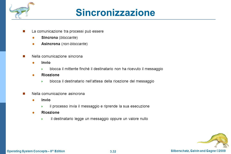 Sincronizzazione La comunicazione tra processi può essere