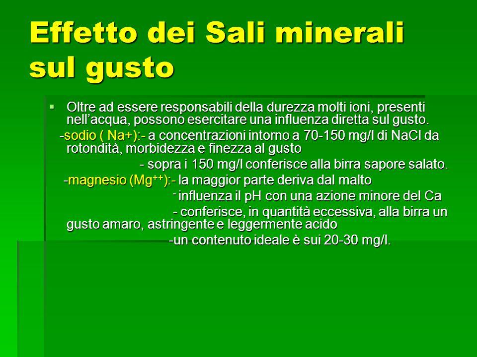 Effetto dei Sali minerali sul gusto
