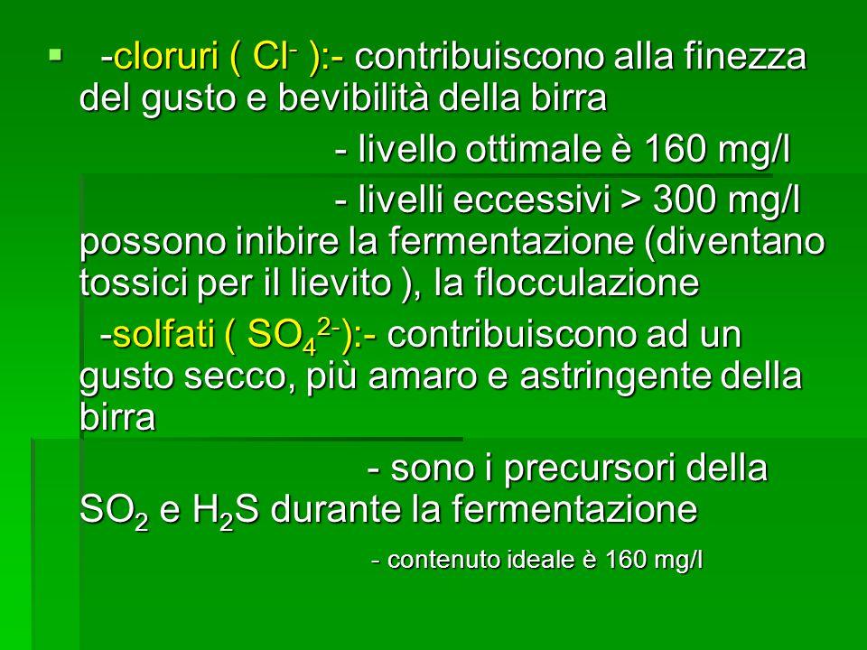 -cloruri ( Cl- ):- contribuiscono alla finezza del gusto e bevibilità della birra