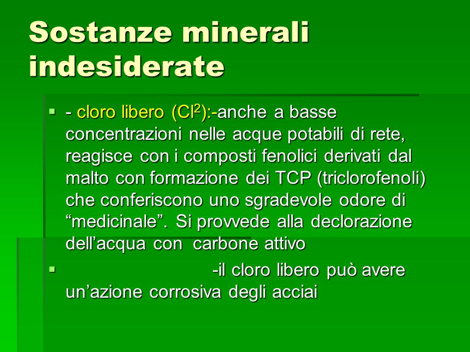 Sostanze minerali indesiderate