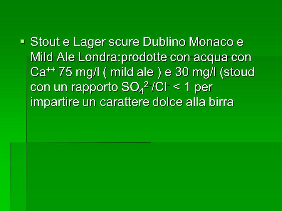 Stout e Lager scure Dublino Monaco e Mild Ale Londra:prodotte con acqua con Ca++ 75 mg/l ( mild ale ) e 30 mg/l (stoud con un rapporto SO42-/Cl- < 1 per impartire un carattere dolce alla birra