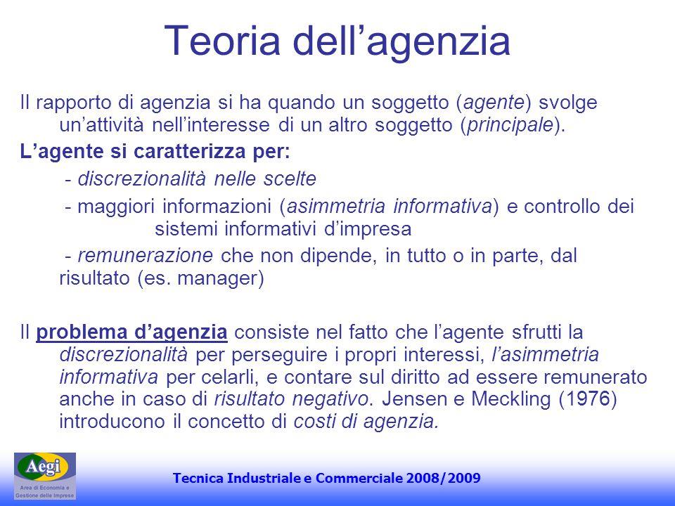 Teoria dell'agenzia Il rapporto di agenzia si ha quando un soggetto (agente) svolge un'attività nell'interesse di un altro soggetto (principale).