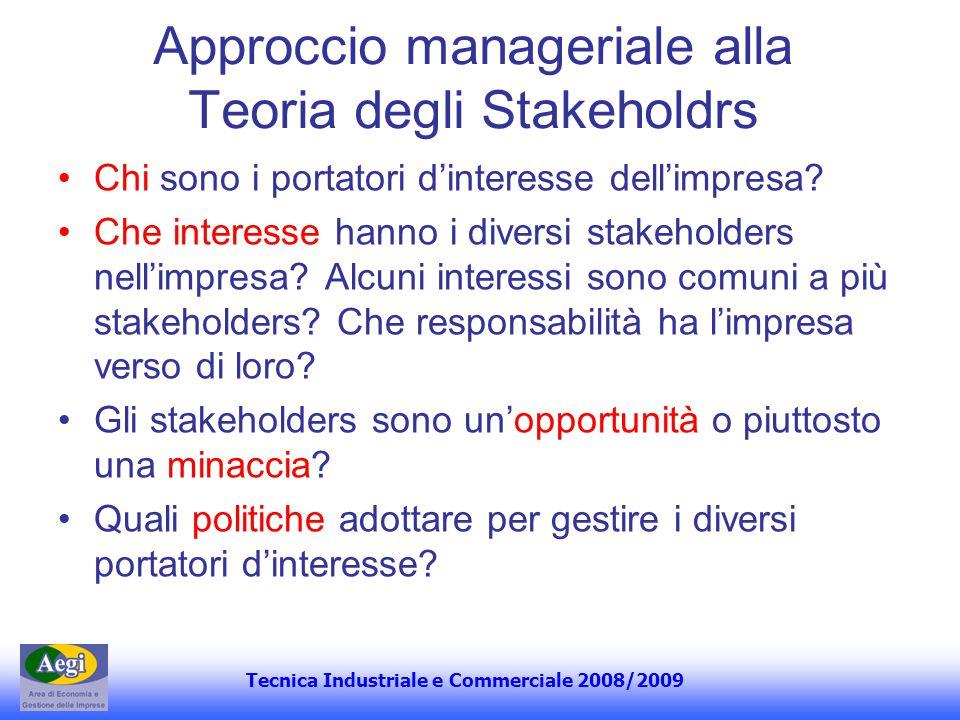 Approccio manageriale alla Teoria degli Stakeholdrs