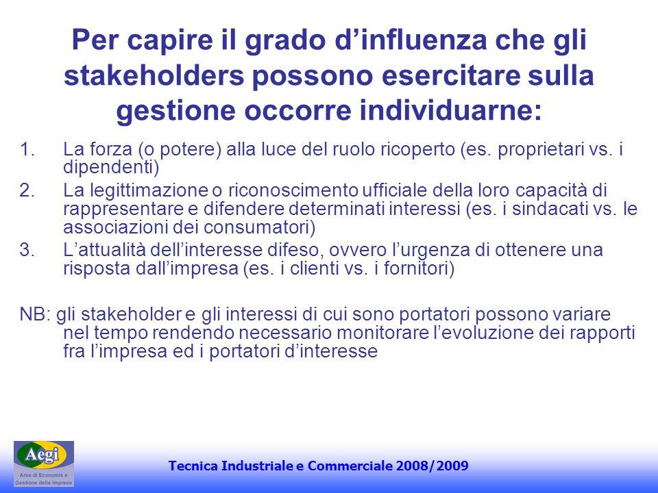 Per capire il grado d'influenza che gli stakeholders possono esercitare sulla gestione occorre individuarne: