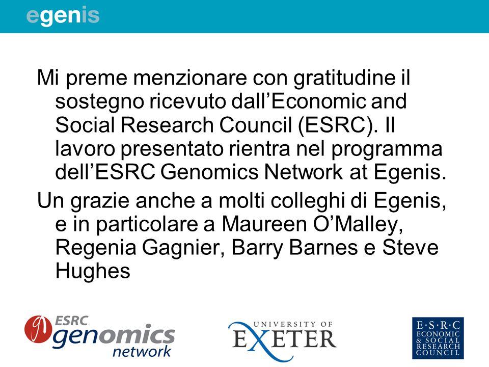 Mi preme menzionare con gratitudine il sostegno ricevuto dall'Economic and Social Research Council (ESRC). Il lavoro presentato rientra nel programma dell'ESRC Genomics Network at Egenis.