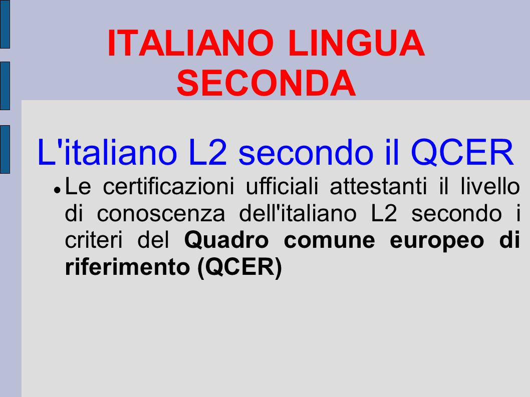ITALIANO LINGUA SECONDA