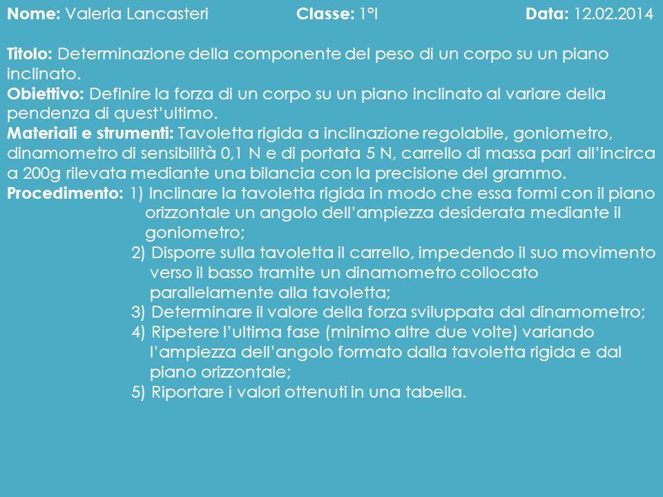 Nome: Valeria Lancasteri Classe: 1°I Data: 12.02.2014