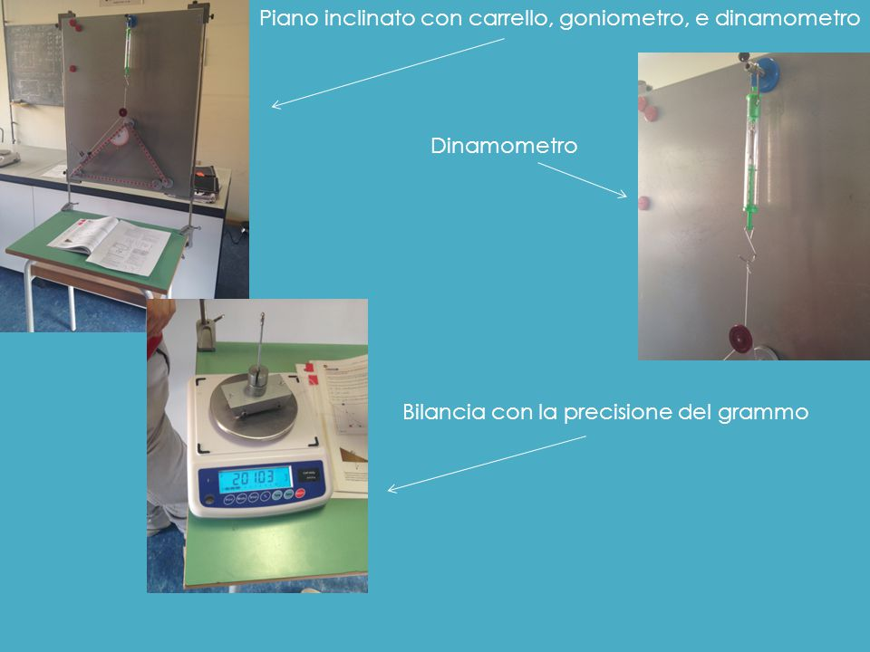 Piano inclinato con carrello, goniometro, e dinamometro