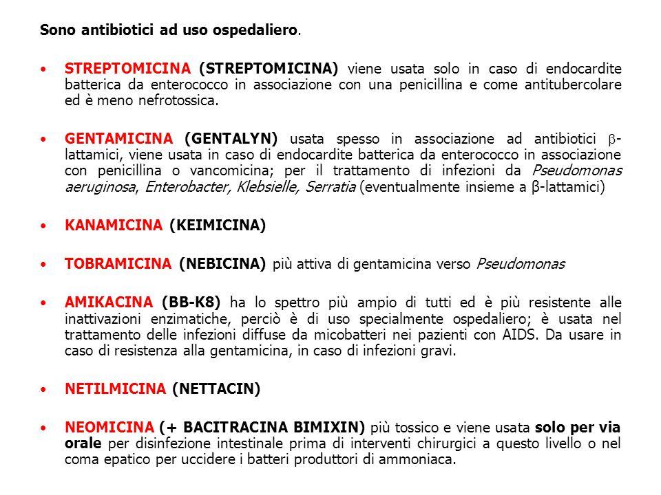 Sono antibiotici ad uso ospedaliero.