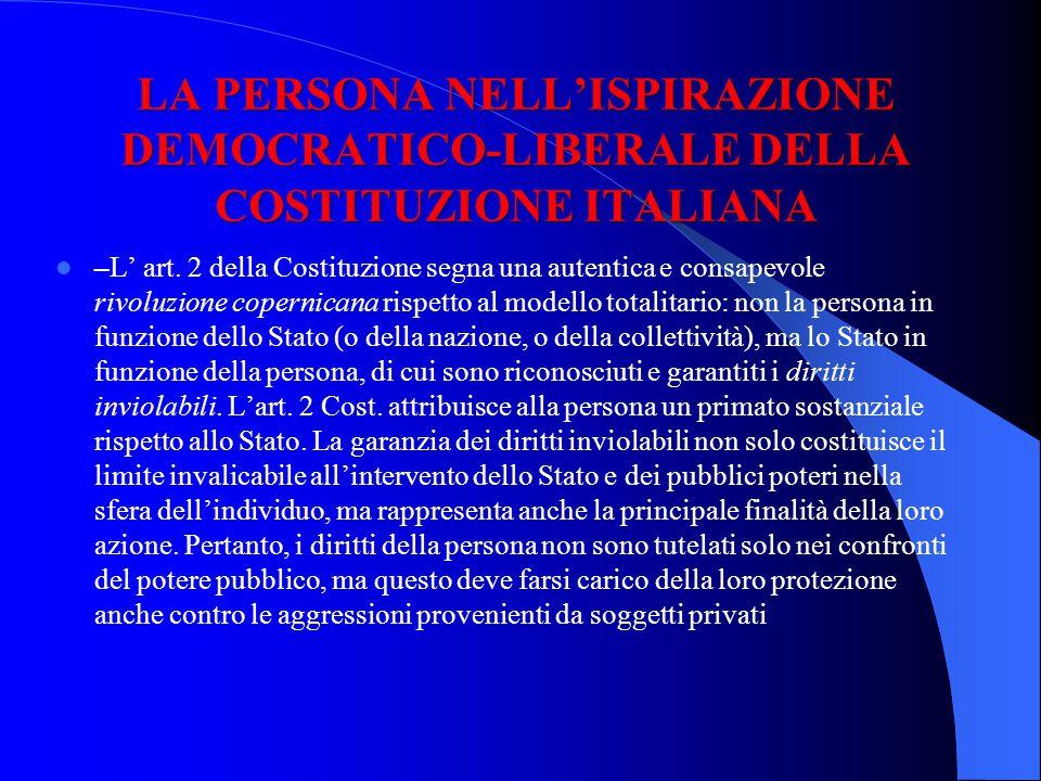 LA PERSONA NELL'ISPIRAZIONE DEMOCRATICO-LIBERALE DELLA COSTITUZIONE ITALIANA