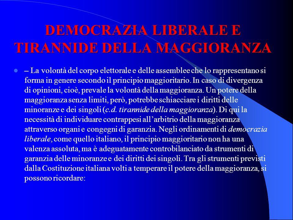 DEMOCRAZIA LIBERALE E TIRANNIDE DELLA MAGGIORANZA