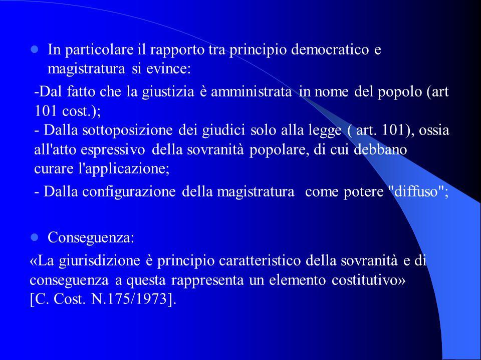 In particolare il rapporto tra principio democratico e magistratura si evince:
