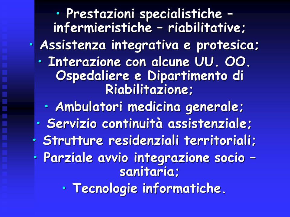 Prestazioni specialistiche – infermieristiche – riabilitative;