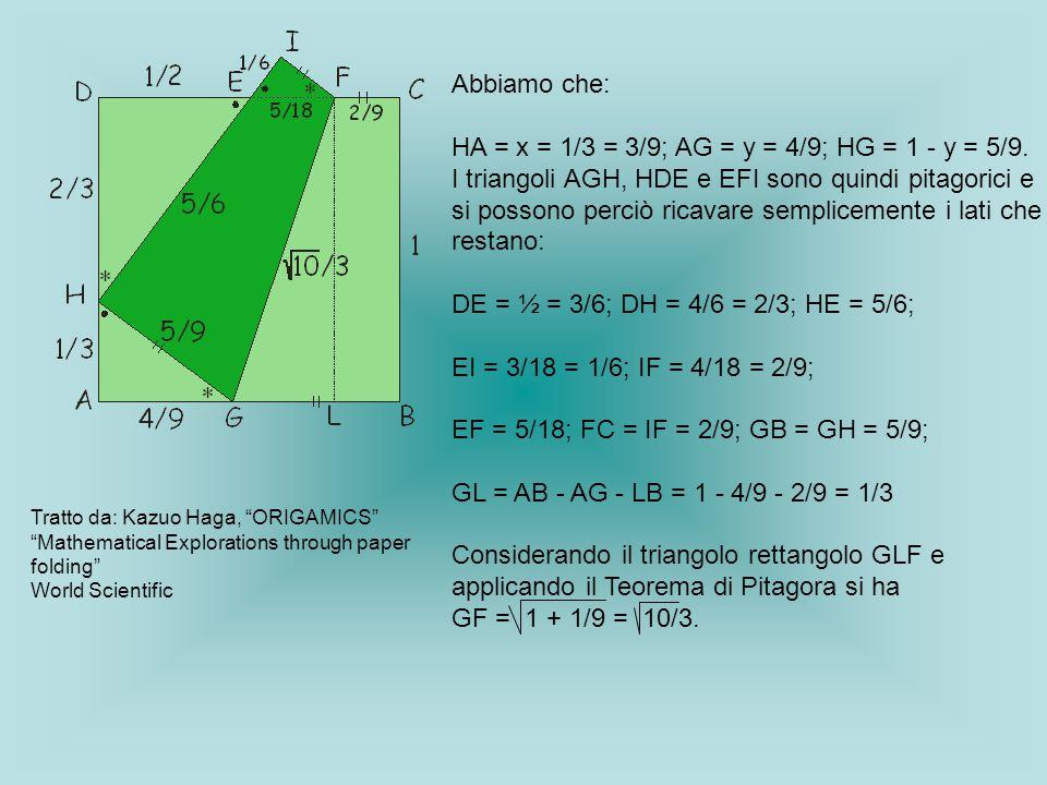 HA = x = 1/3 = 3/9; AG = y = 4/9; HG = 1 - y = 5/9.