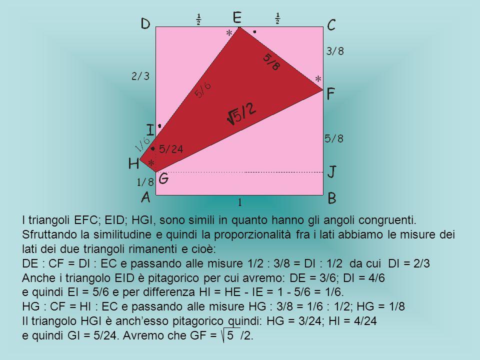 I triangoli EFC; EID; HGI, sono simili in quanto hanno gli angoli congruenti.
