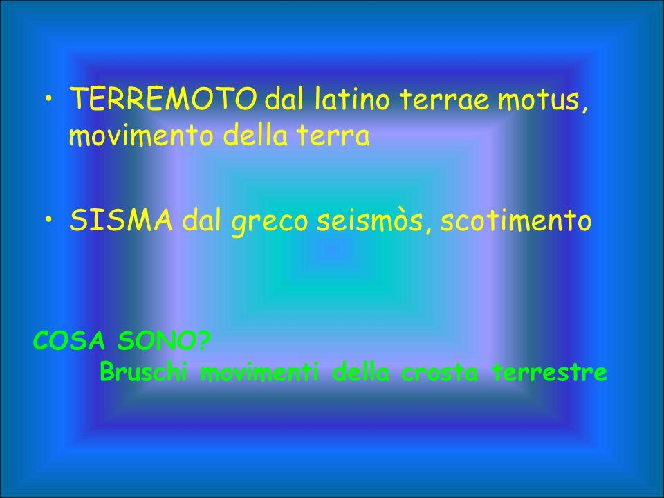 TERREMOTO dal latino terrae motus, movimento della terra