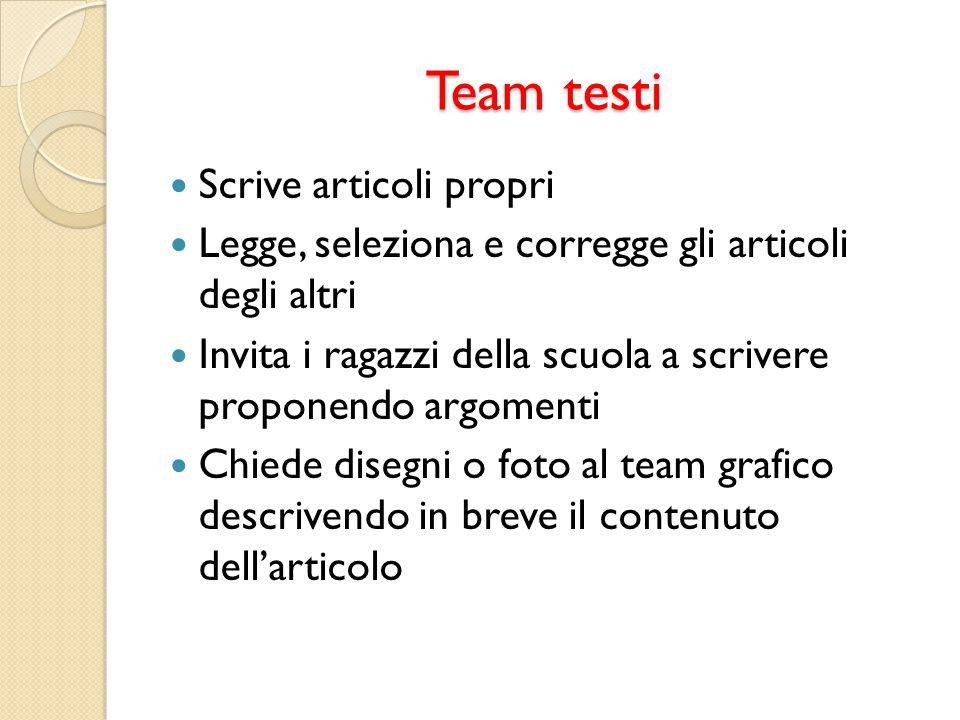 Team testi Scrive articoli propri
