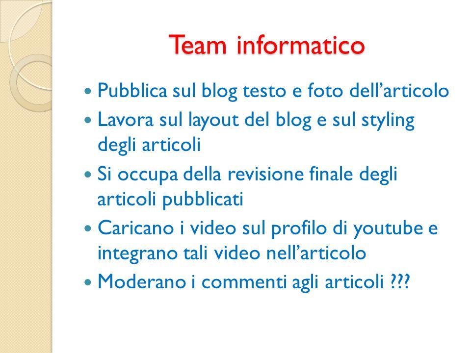 Team informatico Pubblica sul blog testo e foto dell'articolo
