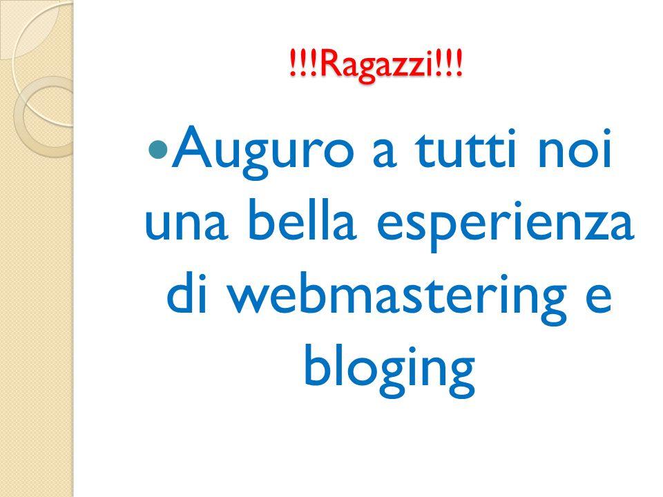Auguro a tutti noi una bella esperienza di webmastering e bloging