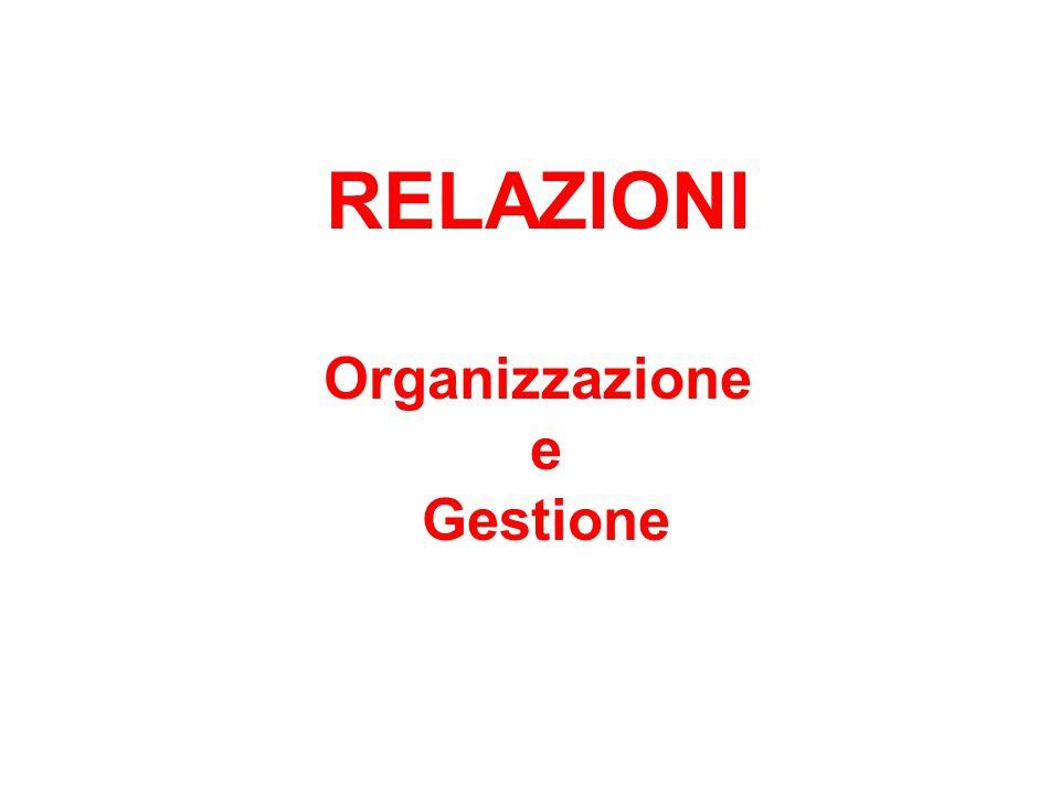 RELAZIONI Organizzazione e Gestione