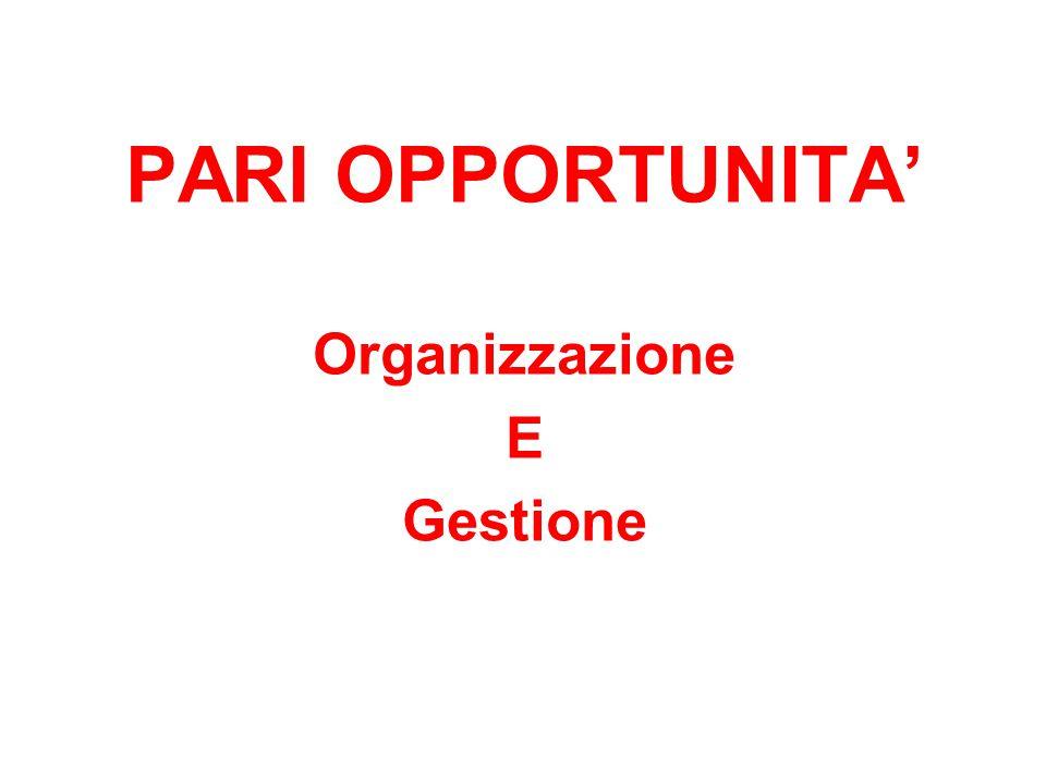 PARI OPPORTUNITA' Organizzazione E Gestione